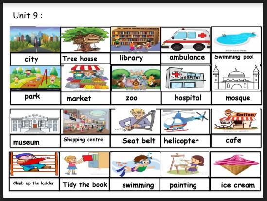مفردات الوحدة التاسعة لغة انكليزية صف ثالث فصل ثالث