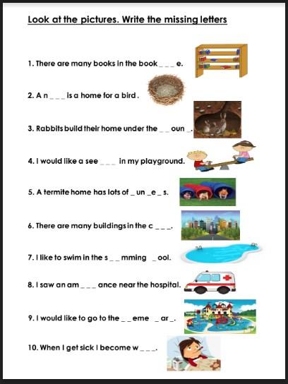 أوراق عمل كتابة الكلمة المفقودة لغة انجليزية صف ثالث فصل ثالث
