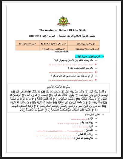 أوراق عمل (سورة البلد-التعاون سر النجاح-التراحم-رعاية المتحاجين-سورة التين) تربية اسلامية للصف الثالث