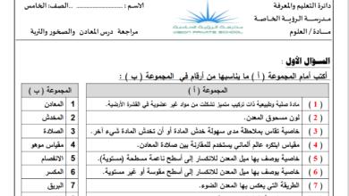 Photo of مراجعة درس الصخور والمعادن علوم صف خامس
