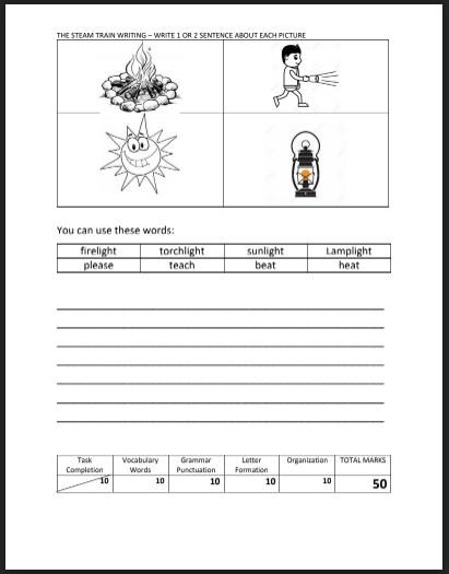 أوراق عمل (مواضيع كتابة) لغة انكليزية للصف الثالث