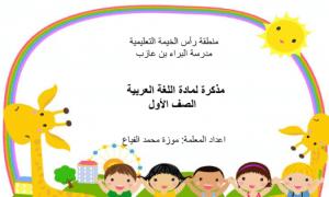 مذكرة لمراجعة حروف اللغة العربية فصل أول صف أول