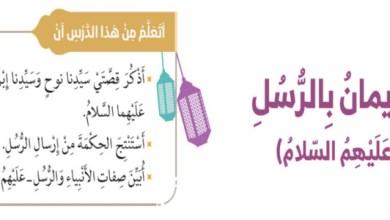 Photo of درس الإيمان بالرسل تربية اسلامية صف ثاني فصل أول