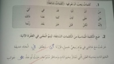 Photo of صف خامس فصل ثاني حلول لغة عربية الوحدة الخامسة من كتاب النشاط