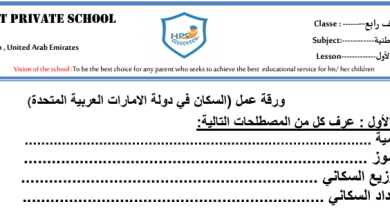 Photo of صف رابع فصل ثاني ورق عمل دراسات اجتماعية السكان في دولة الإمارات