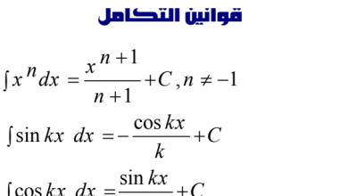 Photo of صف ثاني عشر متقدم فصل ثاني رياضيات قوانين التكامل