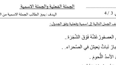 Photo of أصف ثاني فصل ثاني ورق عمل لغة عربية الجملة الفعلية والجملة الاسمية