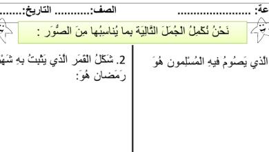Photo of صف ثالث فصل ثاني تربية إسلامية أوراق عمل درس الصوم