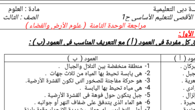 Photo of مراجعة الوحدة الثامنة علوم صف ثالث فصل ثاني