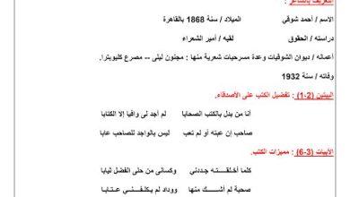 Photo of صف عاشر فصل ثاني لغة عربية شرح قصيدة انا من بدل بالصحب الكتابا