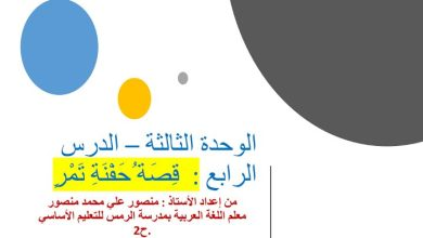 Photo of صف ثامن فصل ثاني لغة عربية حي درس حفنة تمر