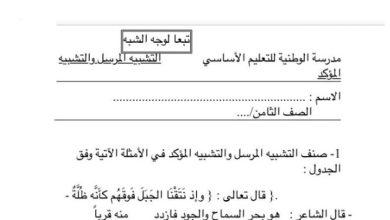 Photo of أوراق عمل التشبيه المرسل والتشبيه المؤكد لغة عربية صف ثامن فصل ثاني