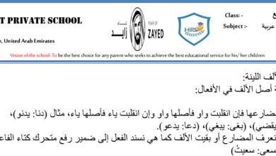 Photo of صف رابع فصل ثاني لغة عربية شرح الألف اللينة