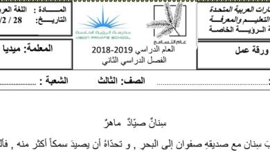 Photo of ورقة عمل لغة عربية فقرة وأسئلة عليها صف ثالث فصل ثاني