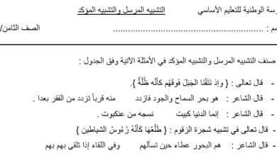 Photo of أوراق عمل ثانية التشبيه المرسل والتشبيه المؤكد لغة عربية صف ثامن فصل ثاني