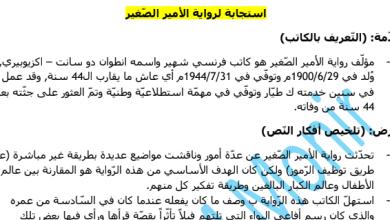 Photo of استجابة أدبية لرواية الأمير الصغير لغة عربية صف ثاني عشر فصل ثاني