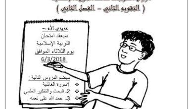 Photo of صف رابع فصل ثاني تربية إسلامية ورق عمل مراجعة محلول