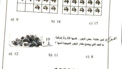 Photo of امتحان نهاية الفصل الثاني 2018 رياضيات صف أول