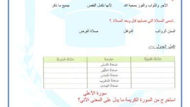 Photo of صف رابع فصل ثاني أوراق عمل التربية الإسلامية سورة الأعلى والسنن الرواتب