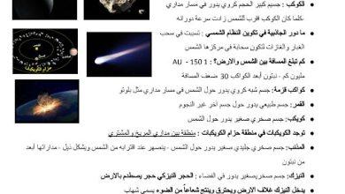 Photo of صف سادس فصل ثاني تلخيص علوم درس النظام الشمسي