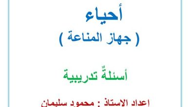 Photo of صف حادي عشر متقدم فصل ثاني مراجعة أحياء المناعة