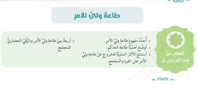 Photo of حل درس طاعة ولي الأمر تربية إسلامية الصف الرابع الفصل الثالث