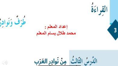 Photo of حل درس من نوادر العرب لغة عربية صف سادس فصل ثاني