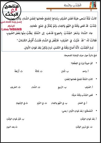 تدريبات مهارات القراءة قصة الجندب والنملة لغة عربية صف ثالث فصل ثالث