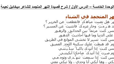 Photo of صف ثامن فصل ثالث شرح وتحليل قصيدة النهر المتجمد اللغة العربية