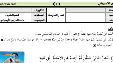 Photo of أوراق عمل فهم المقروء لغة عربية (قصة مالك الحزين) صف ثاني فصل ثالث