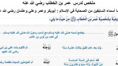 Photo of ملخص درس عمر بن الخطاب تربية إسلامية صف خامس فصل ثالث