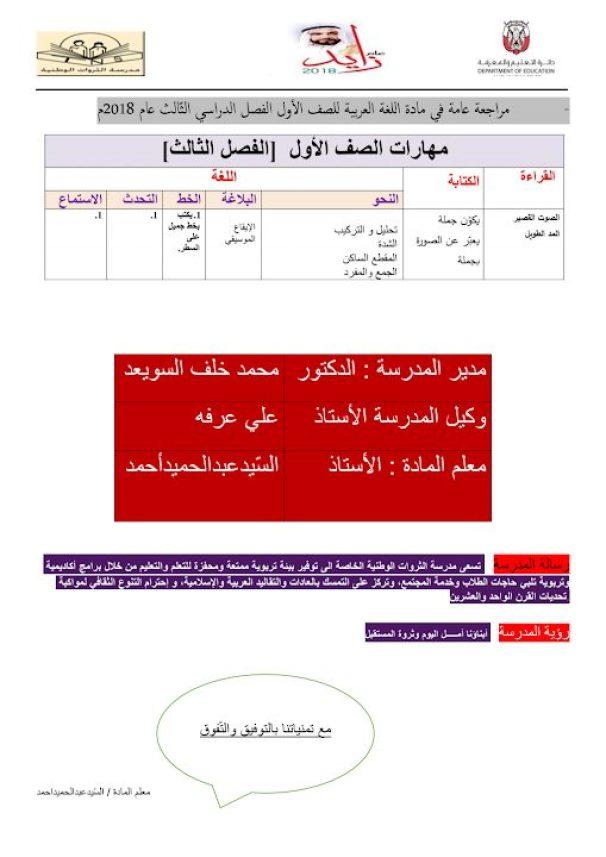 راجعة عامة للفصل الثالث لغة عربية
