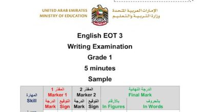 Photo of نموذج امتحان كتابة لغة إنجليزية صف أول فصل ثالث