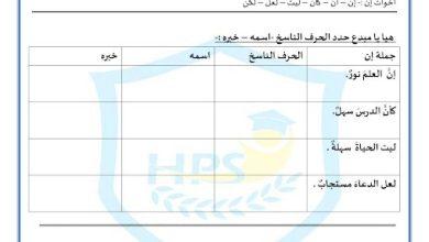 Photo of ورق عمل جملة إن وأخواتها لغة عربية صف خامس فصل ثالث
