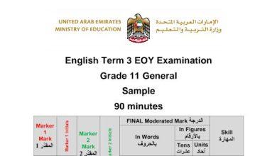Photo of نموذج امتحان لغة إنجليزية صف حادي عشر فصل ثالث