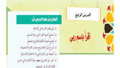 Photo of اجابة درس اقرأ باسم ربي لمادة التربية الإسلامية الصف الثامن