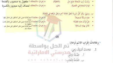 حل درس علامات اعراب الاسم الاصلية والفرعية لغة عربية الصف السابع