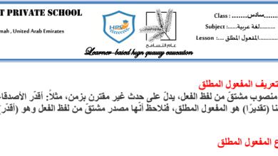 Photo of ملخص وأوراق عمل المفعول المطلق يتبعها الحل لغة عربية صف سادس فصل ثالث