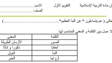 Photo of أوراق عمل سورة النبأ تربية إسلامية صف خامس فصل ثالث