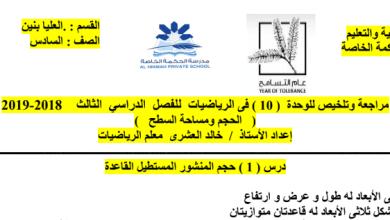 Photo of مراجعة وملخص الوحدة 10 الحجم ومساحة السطح رياضيات صف سادس فصل ثالث