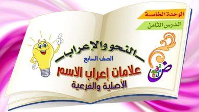 Photo of ملخص درس (علامات إعراب الاسم الأصلية والفرعية) لغة عربية صف سابع فصل ثالث