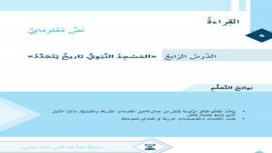 Photo of حل درس المسجد النبوي تاريخ يتجدد لغة عربية صف سادس فصل أول