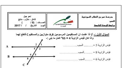 Photo of مراجعة الوحدة الخامسة رياضيات صف ثامن فصل ثاني