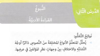 Photo of صف سادس فصل ثاني لغة عربية درس النبوغ