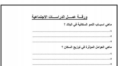 Photo of صف رابع فصل ثاني دراسات اجتماعية ورق عمل السكان
