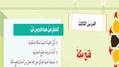 Photo of صف ثامن فصل ثاني حل درس فتح مكة تربية إسلامية