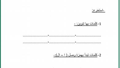 Photo of صف ثالث فصل ثاني ورق عمل لغة عربية