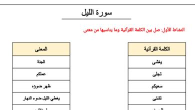 Photo of صف ثالث فصل ثاني تربية إسلامية أوراق عمل سورة الليل
