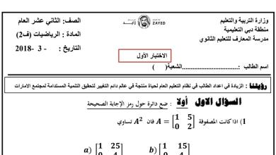 Photo of تقويم أول رياضيات صف ثاني عشر عام فصل ثاني