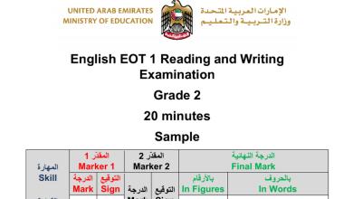 Photo of صف ثاني فصل أول لغة إنجليزية النموذج التدريبي
